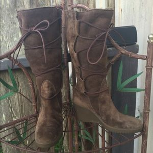New Ugg Elsey Expresso Lace Up Wedge Boots